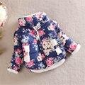 Infantil Jaqueta Com Forro de Lã Casaco Crianças Primavera Outono Cópia Da Flor De Veludo Engrossar Outwear Bebê de Natal Da Menina Casacos de Algodão Quentes