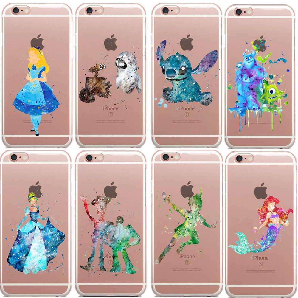 Watercolor Art Mulan Princess Soft Clear TPU Case for iPhone 7 7Plus 6s 6 5s 6S Plus Marine MOANA MAUI Cinderella Donald Duck