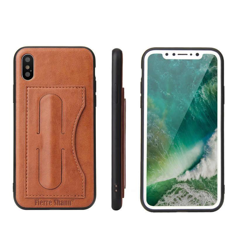 Couverture arrière d'affaires de 4 couleurs pour le etui de téléphone en cuir synthétique polyuréthane de poche de carte d'iphone X pour l'iphone X sacs durables de mode bon marché avec la béquille