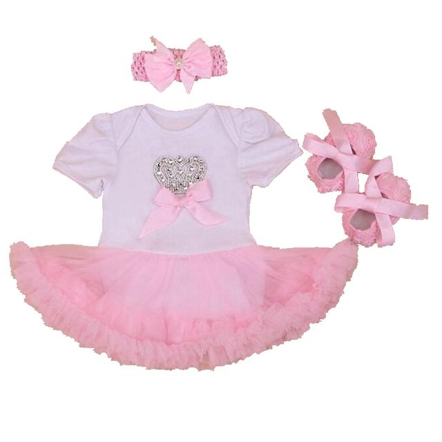 Imitação de diamante Da Coroa Do Bebê Da Menina Roupas de Verão Recém-nascidos Bebes Tutu Define Lace Ruffle Romper Crib Shoes Headband Da Menina Da Criança Roupas