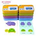 32 pçs/caixa Bebê A Aprender Inglês Par Enigma Montessori Cartão Cognitivo Infantil Brinquedos Educativos Quebra-cabeças Para As Crianças Do Presente Do Bebê