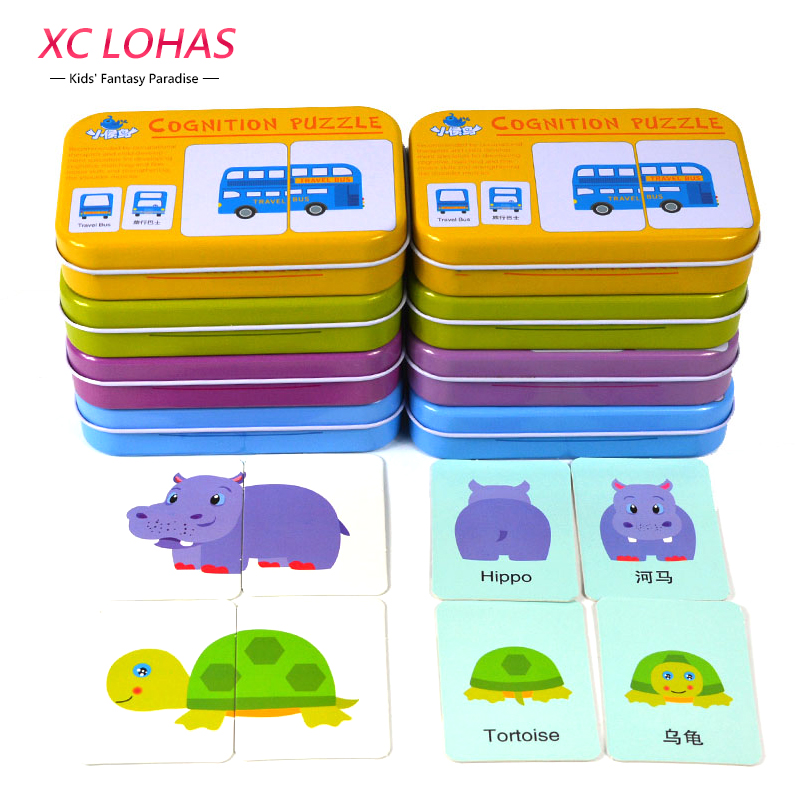 32pcsBox Baby Learn English Pair Puzzle Montessori Cognitive Card Infant Educational Toys Puzzles For Children Baby Gift