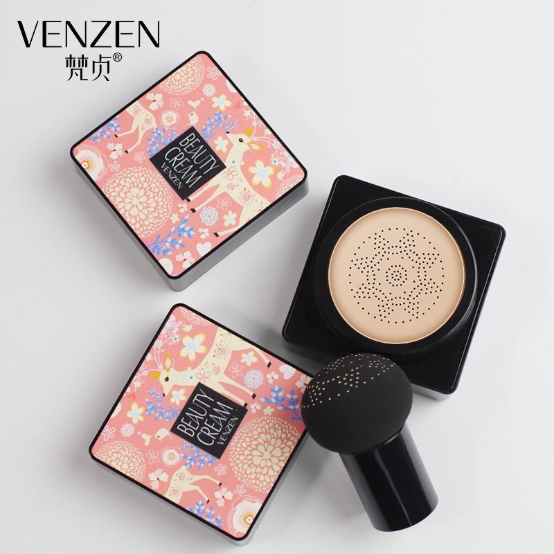 VENZEN Sunscreen Air Cushion BB CC Cream Concealer Moisturizing Foundation Whitening Makeup Bare For Face Beauty Makeup image