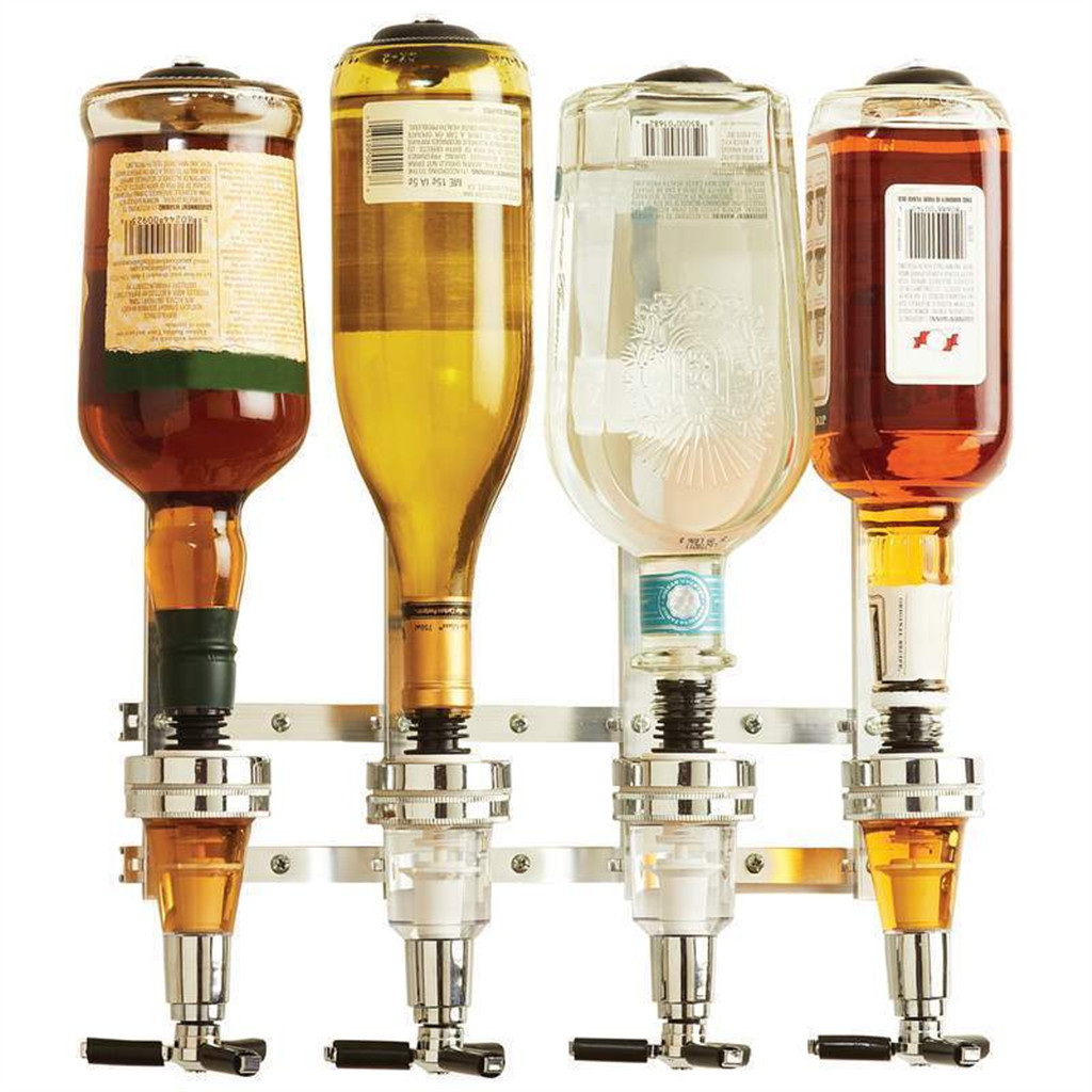 New Wine Dispenser Machine Wall Mounted 4 Station Liquor Bar Butler Drinking Pourer Home Bar Tools For Beer Soda Coke Fizzy Soda