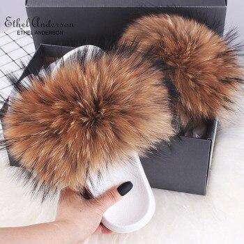 2019 Newest Fur Slippers Summer Real Fox Fur Flip Flops Good Quality Flat Sandals Shoes Wholesale good quality wholesale