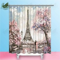 Vixm Paris Oil Painting Street Scene Gentle Scenery Shower Curtains Polyester Fabric Curtains For Home Decor