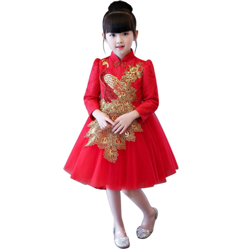 Girls Chinese Style Qipao Dress Autumn Winter Long Sleeve Princess Dresses Big Bow Sequins Baby Girl Party Dress vestidos j2 spring autumn girl style dress princess girls dresses high quality cotton kids party costumes solid thicker vestidos zipper bow