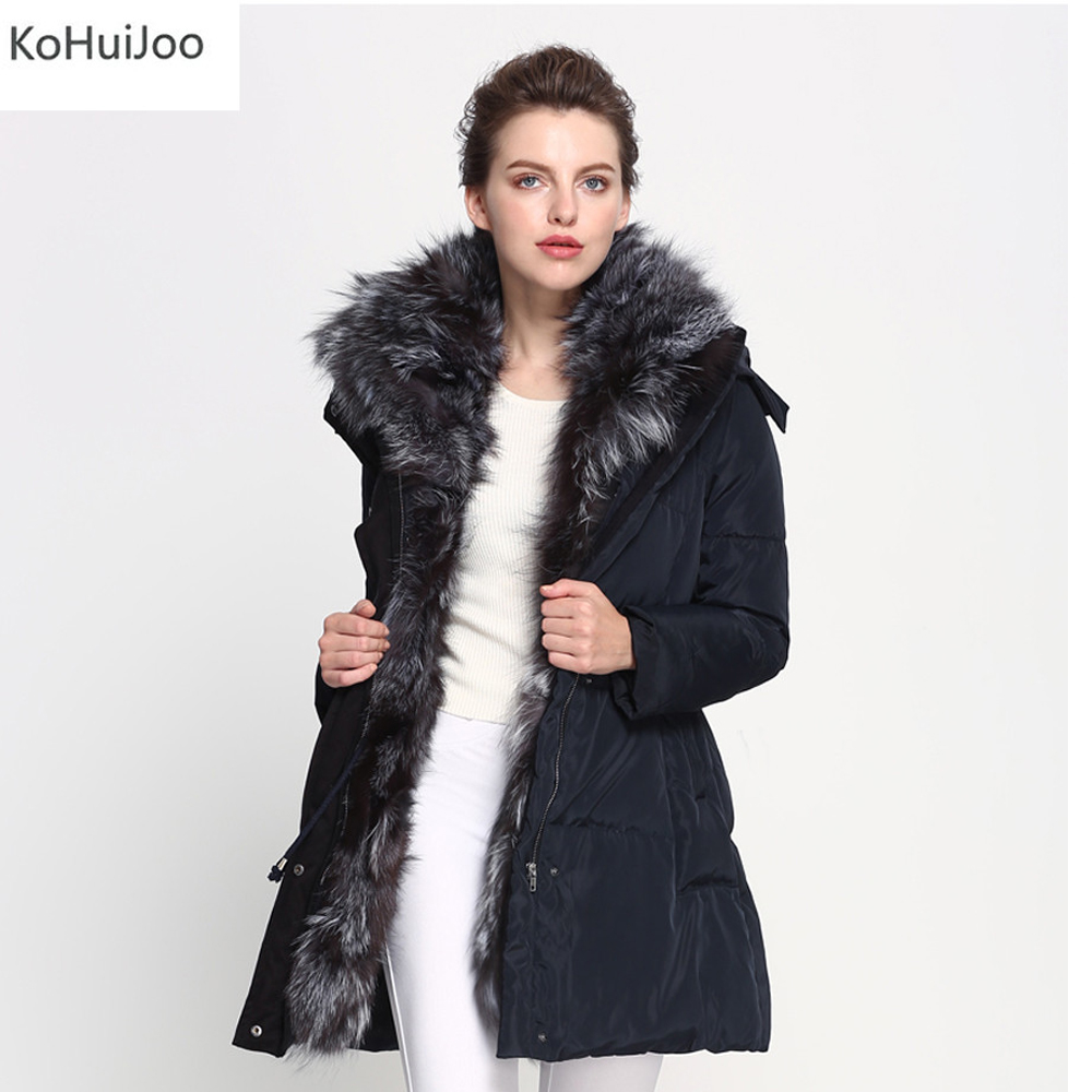 XS-4XL Winter Women Parkas Big Real Silver Fox Fur Collar Coat Hooded Thick Warm Down Jackets Plus Size Quilted Jacket Female 3xl 4xl 2016 winter jacket women parkas plus size hooded long coat parkas with real fur collar thickening female warm clothes