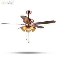 SOLFART lamp 220v wooden ceiling fans modern ceiling fan with lights red bronze white 42inch 52inch remote control slf1008