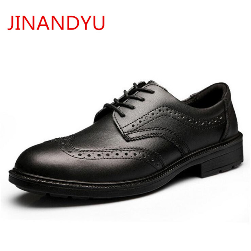 Men's Genuine Leather Brogue Shoes Classic Office Work Safety Shoes Steel Toe Formal Suits Flats Light Weight Work Dress Shoes