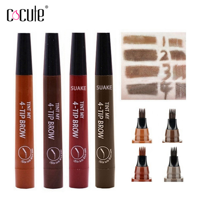 Microblading Eyebrow Pencil Tint 4 Tip Liquid Brow Tattoo Pen 5 Colors Paint Makeup Eyebrows Waterproof Cosmetic Eye brow Liner 1