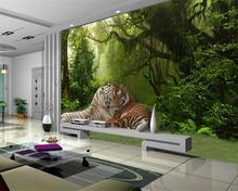 Купить с кэшбэком Beibehang Custom Wallpaper Living Room Bedroom Background 3d Wallpaper Forest Tiger Jungle Sofa TV Background Wall wallpaper