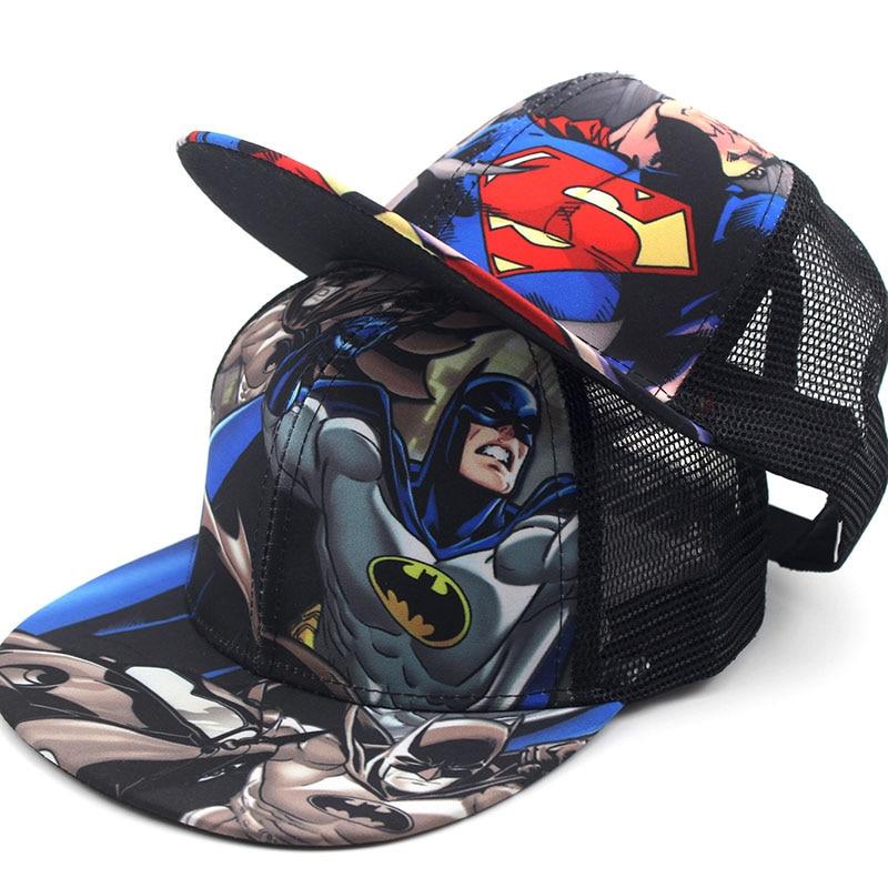 Children Baseball Cartoon Anime Super Hero Superman Batman Caps  Boy Girls Sport Cap Hip Hop Hats Summer Sun Hat Adjustable Cap
