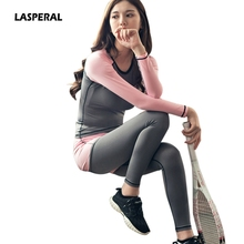 LASPERAL Women's Sports Suits Skinny Yoga Set Running Fitness patchwork Clothing Sports Tops and Elastic Capris