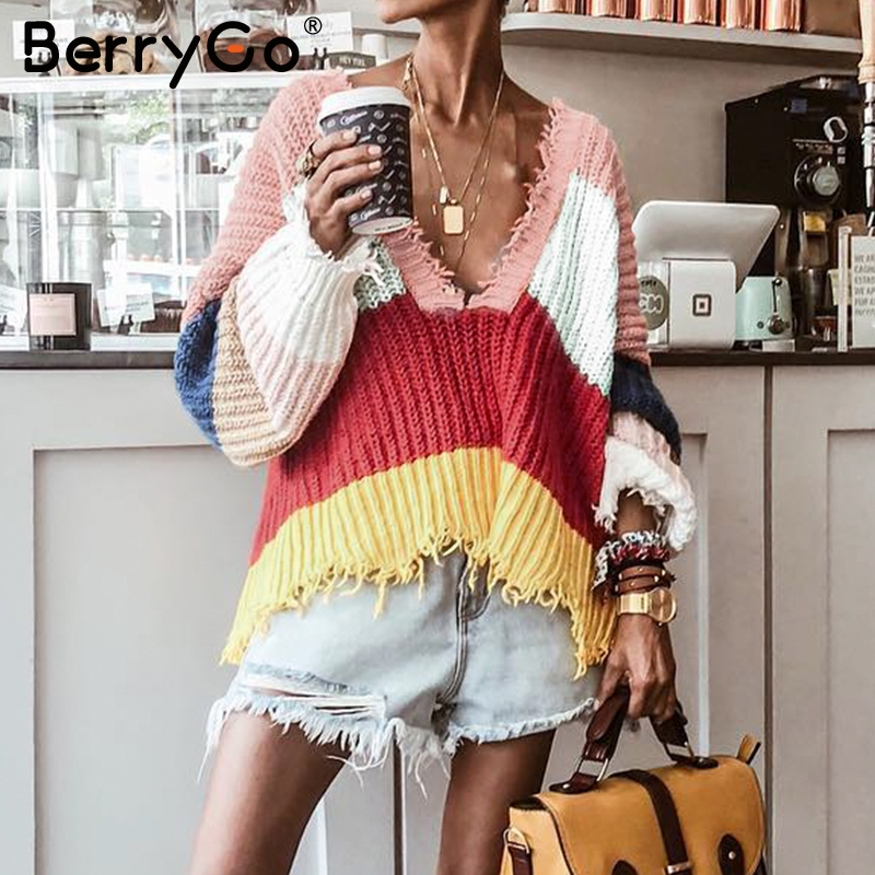 BerryGo V neck batwing sleeve rainbow sweaters women 2018 Autumn winter casual loose pullovers Fashion tassel trim jumpers top