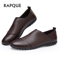 Sneakers Mens shoes casual summer leather men Loafers genuine cow flats antiskid Walking dress shoes durabrasion rubber RAPQUE