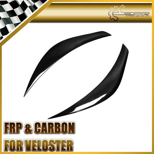 For Hyundai Veloster Carbon Fiber Headlight Eyebrow Eyelid Fit Turbo Or Non Turbo