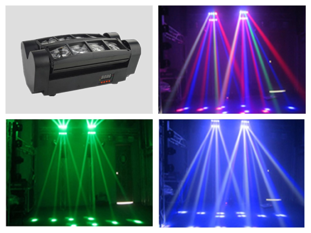4pcs/lot, Mini RGBW 4 in 1 LED Spider Light 8x3w moving head spider beam Light disco stage ktv dj club show bar  moving head spider lights cree led 8x10w rgbw moving head show light disco ktv dj club show bar led stage lighting