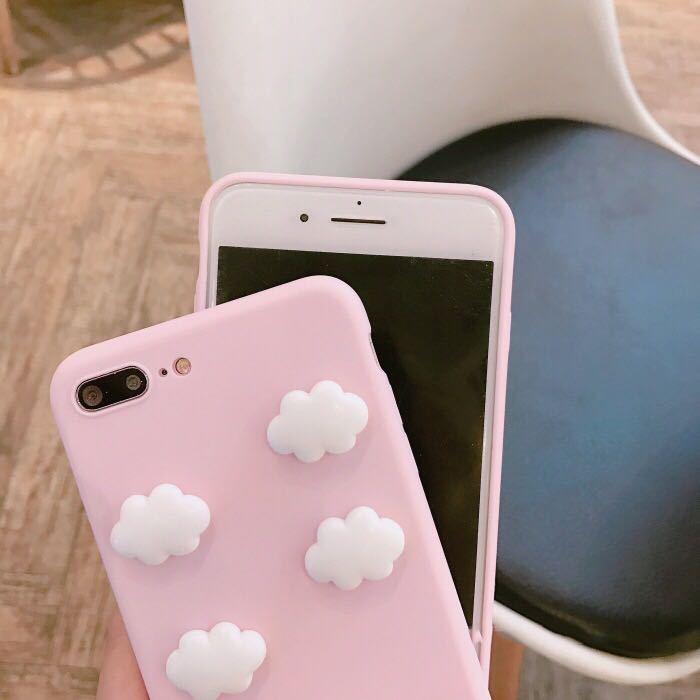 NEW Victoria Fashion Hot Pink Cute 3D Cloud Pendant Case for iPhone 7 Plus phone case For iphone 6 6s 8 8plus Phone Secret