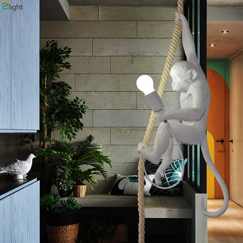 Современная Новинка обезьяна Светодиодная настольная лампа спальня Carverd Смола настольная Светодиодная лампа гостиная Светодиодная настольная лампа светильники Лофт настольная лампа