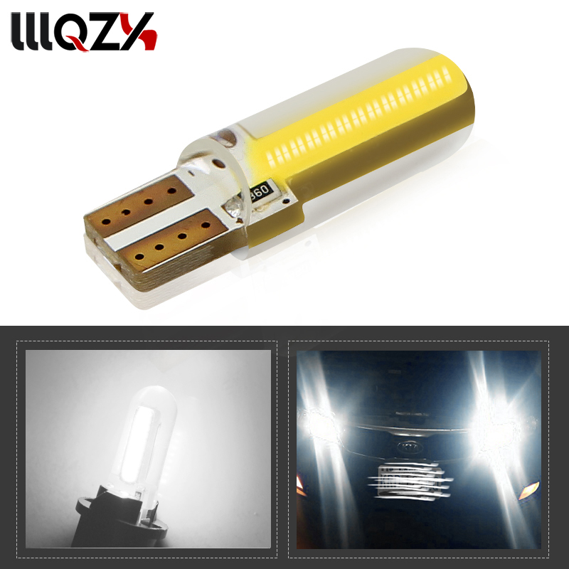 1Pcs T10 COB W5W LED car interior light position light 12V 194 501 wedge bulb dome parking white light auto lada car styling 1 pcs t10 w5w led car interior light cob silicone auto signal lamp 12 v 194 501 side wedge parking bulb for lada car styling