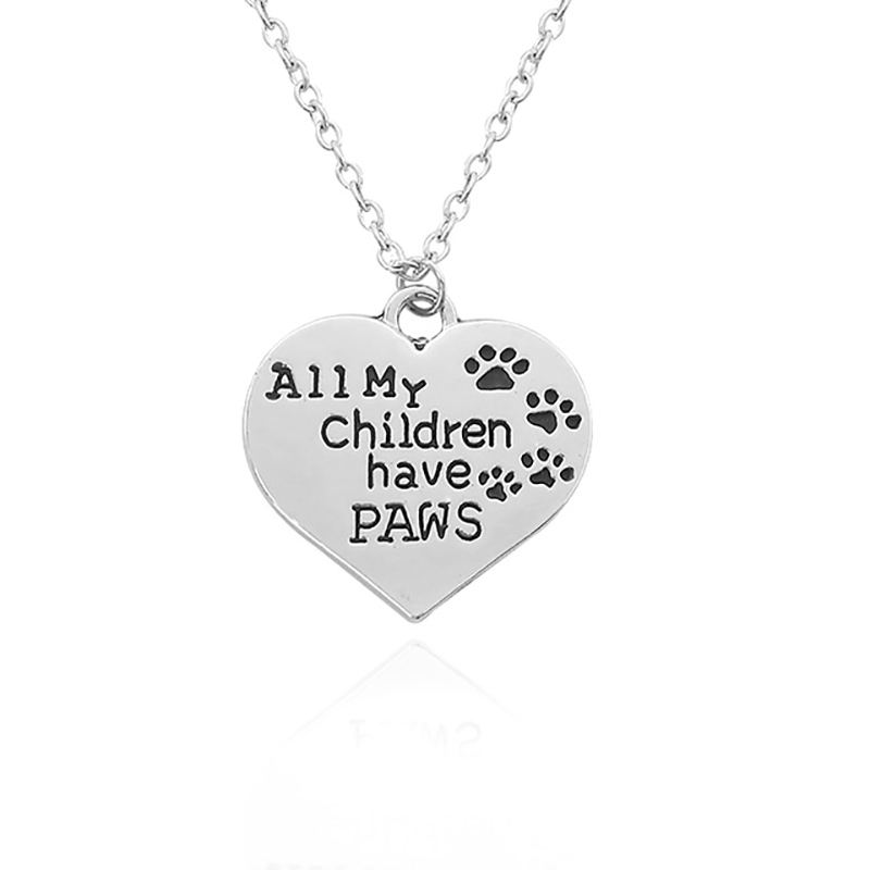 All My Children Have Paws Pendant Animal Footprint Heart Necklace Pet Lover Dog Paw Claw Tag Necklaces For Women Men