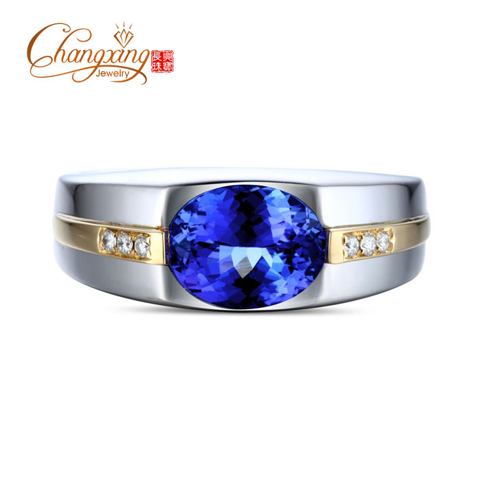 cut gold in ring product tanzanite wedding genuine men emerald natural mens s solid diamond