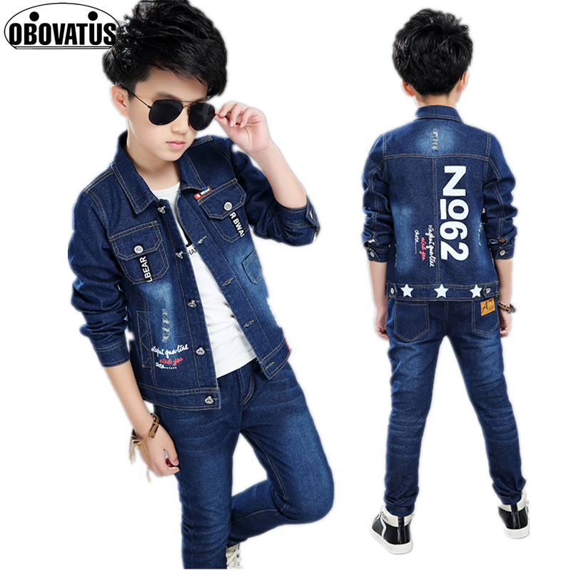 New Children Boys Clothing Set Autumn Spring Cotton Long Sleeve Denim Jacket+Jeans Pants 2pcs/set Kids Casual Outerwear Clothes pencil pants for women plus size embroidery jeans denim high waist casual pants slimming spring autumn cotton blend nnd0701