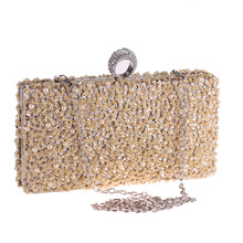 Elegant Handmade Rhinestone Evening Party Clutch For Women Fashion Beading Handbag Solid Shoulder Crossbody Messenger Envelope