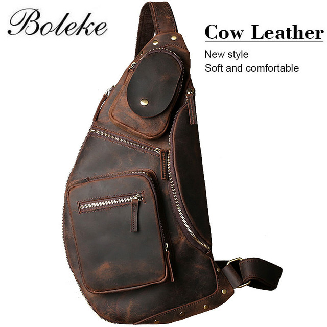 b25a3a9a61d7 Vintage Men Crazy Horse Leather Chest Pack Brand Real Leather Small  Messenger Shoulder Bag Male Handmade Crossbody Tote M3226