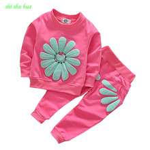 The girl's clothes 2016 spring and autumn children 0-3 years old cute girl / two piece / set of cartoon flowers exquisite fashio цена 2017