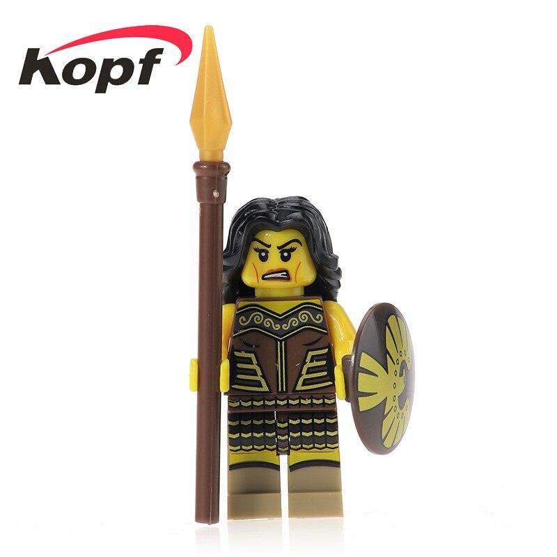 Super Heroes Star Wars Gladiatus Warriors Female Warrior Medieval Knights Rome Bricks Building Blocks Toys for children XH 435