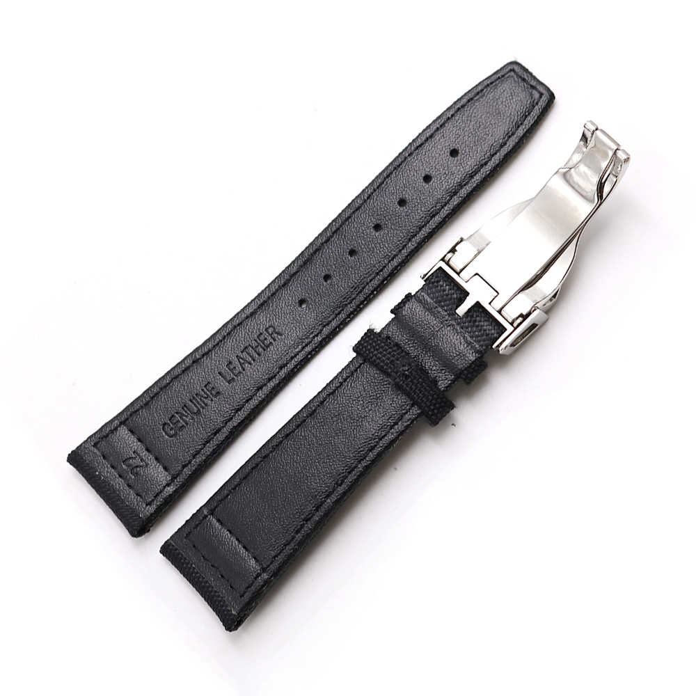 Rolamy นาฬิกา 20 21 22 มิลลิเมตรผ้าไนล่อนหนังสำหรับ Tudor Omega IWC Rolex เปลี่ยนลูปสายคล้อง Deployment clasp