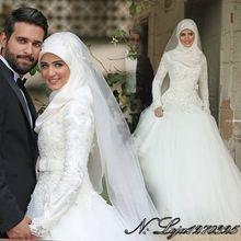 vestido de noiva de renda new white ball gown quality custom long sleeve muslim hijab wedding dress maternity wedding dresses