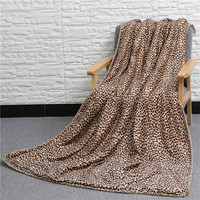 Super Soft Leopard Pattern Double Layer Blanket Air Condition Quilt TV Sofa Gift Design Children Soft Coral Fleece Blanket
