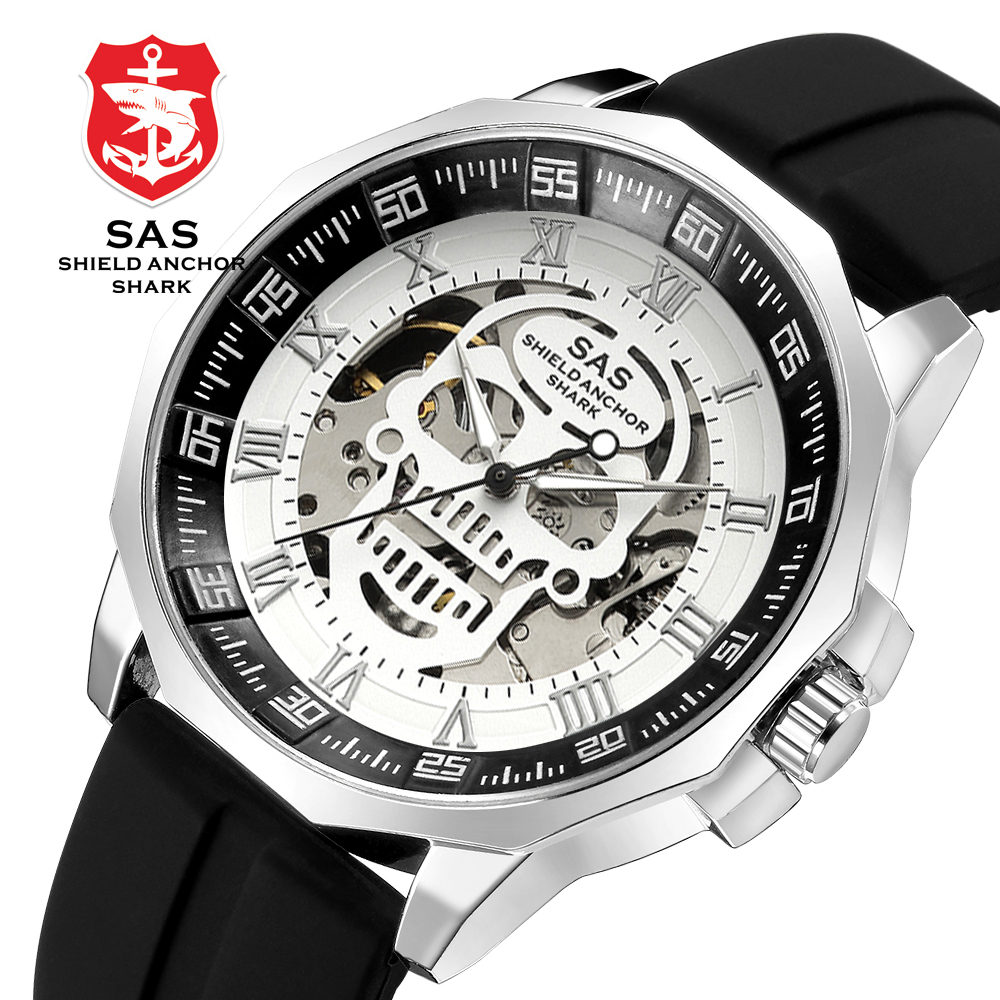 SAS Schild Anker Shark Sport Uhr Männer Mode 3D Schädel Große Zifferblatt Vintage Mechanische Uhren Silikon Armband Skeleton Uhr