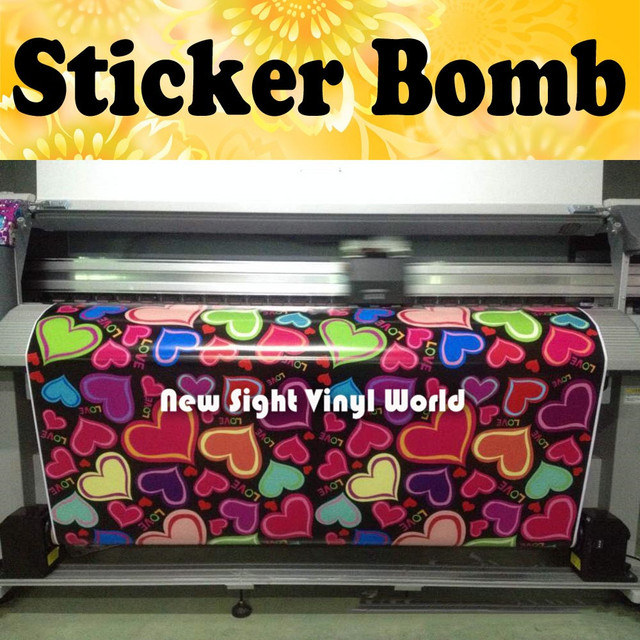 Sweet love heart sticker bomb vinyl film heart shaped love sticker bombing car wrap bubble