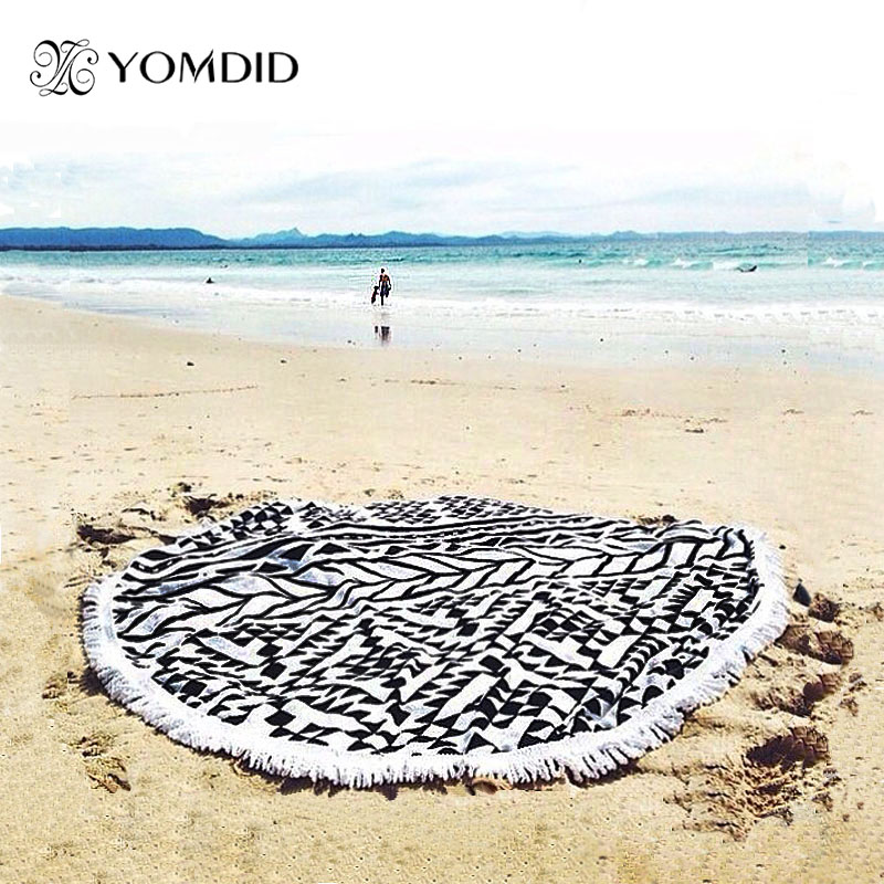 buy large microfiber round beach towels 150cm diameter with tassels sunbath. Black Bedroom Furniture Sets. Home Design Ideas