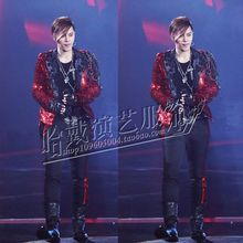 S-5XL!!!2017 Fashion male Nightclub sequins A male singer cultivate one's morality suit costume stage