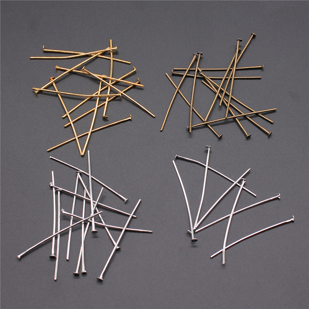 200pcs 18-35mm Flat Head Pins 4 Colors Gold/Silver/Bronze/Rhodium Headpins For Jewelry Making Jewelry Findings & Components