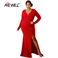 ADEWEL Sexy Plus Size Red Bodycon Party Long Dress Women Deep V Party Long Sleeve High Split Evening Gowns Floor Length Dresses
