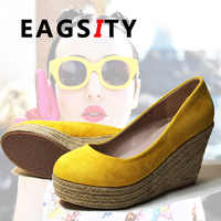 EAGSITY Faux suede pumps platform wedges shoes women high heels slip on round toe ladies shoes casual espadrilles