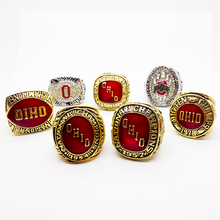 7pcs/set 1954/1957/1961/1968/1970/2002/2014 Ohio State Buckeyes  National Championship Replica Ring with high quality wooden box