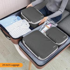 Image 4 - Gonex 3packs Soft Double Sided Compression Packing Cubes Set with 4 Reusable Bags, Suitcase Luggage Organizer Travel Storage Bag