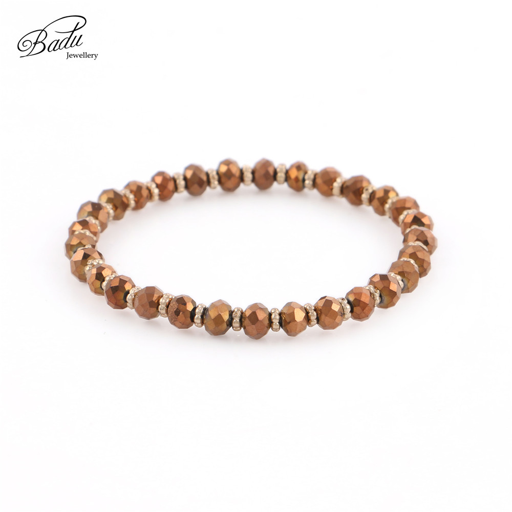 Badu Faceted Crystal Beaded Bracelets Women Charms Beads Jewelry Colorful Bracelet 5mm Crystals Elastic Rope Fashion Jewelry in Strand Bracelets from Jewelry Accessories