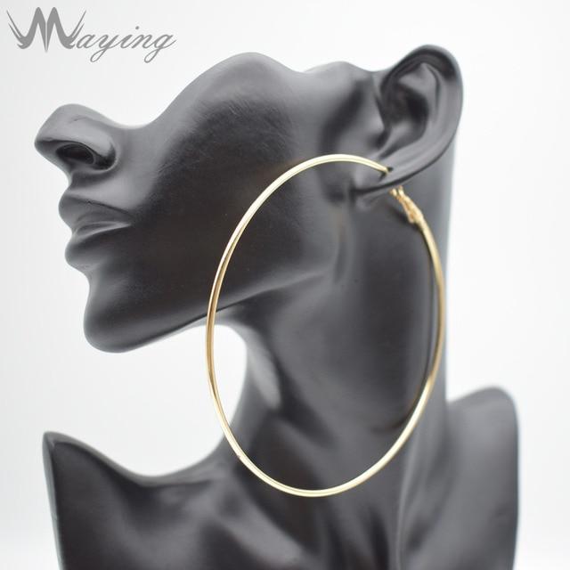 Hypoallergenic Extra Large Flattened Round Metal Hoop Earrings For Women Gest Thin Silver Dangle Huggie