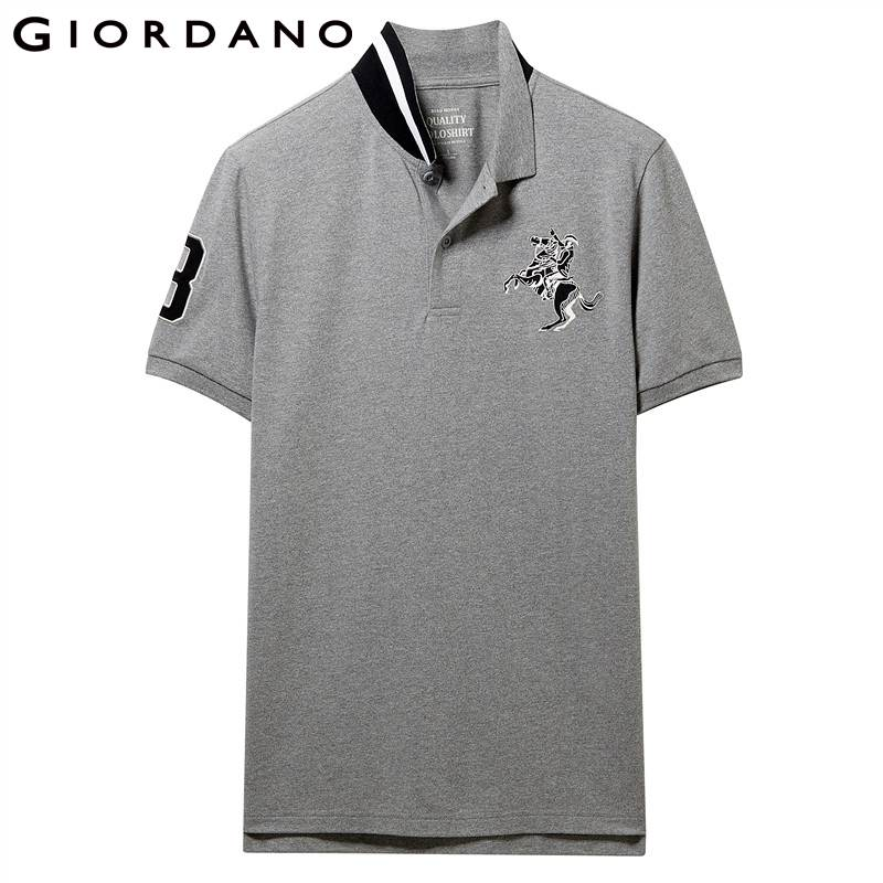 Image 2 - Giordano Men Polo Men Shirt Short Sleeve Stretchy Pique Fabric Embroidered Patterns Polo Shirt Men Slim Fit Brand Camisa Polo-in Polo from Men's Clothing