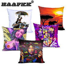 African Women Cushion Cover Throw Pillow Covers Unique for Home Decor or Gift Square Decorative Polyester Throw Pillow Case castle buddha shadow chinese polyester toss throw pillow square cushion gift
