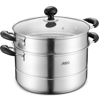 Limited New Arrival Metal Ciq Steamer Pot 26cm Stainless Steel 2 Layer Steamer Double Bottom Boiler Gas Cooker Universal