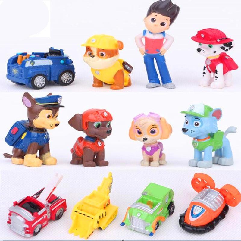 12Pcs Paw Patrol Toys Dog Puppy Patrol Car Patrulla Canina Action Figures Vinyl Doll Toy Children Toys Paw Patrol Birthday Gifts